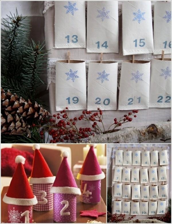 ausgefallene weihnachtsdeko selber machen adventskalender aus klopapierrollen