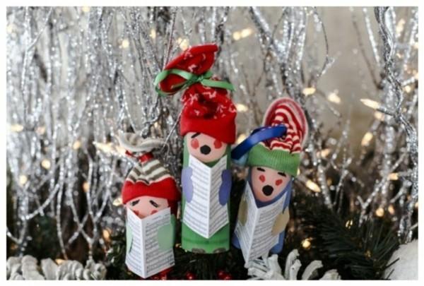 ausgefallene weihnachtsdeko selber machen aus klopapierrollen