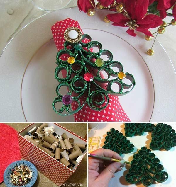 ausgefallene weihnachtsdeko selber machen mit klopapierrollen