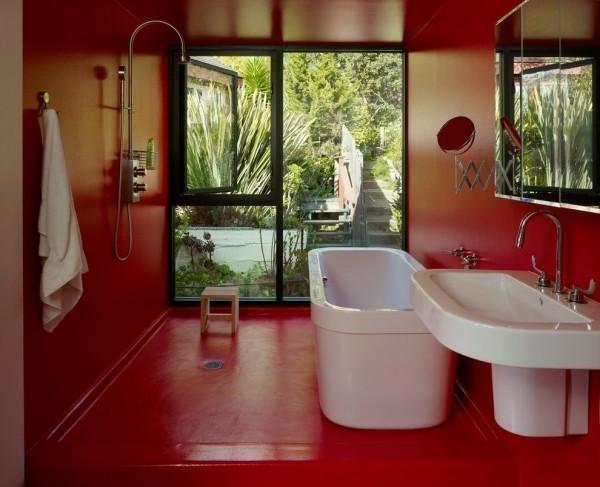 badezimmer gestaltungsideen fast alles rot