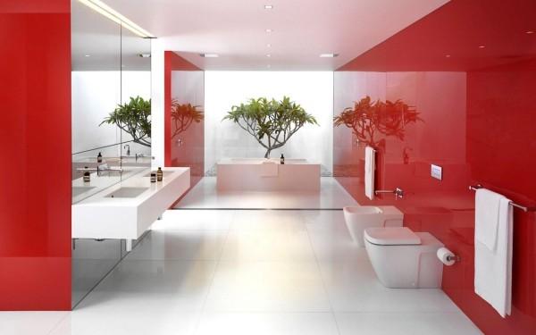 badezimmer gestaltungsideen glanzvolle roten oberflächen