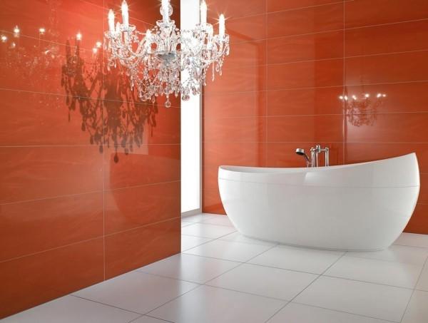 badezimmer gestaltungsideen moderne rote wände