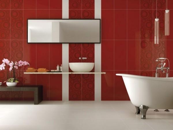 badezimmer gestaltungsideen rote fliesen mit mustern