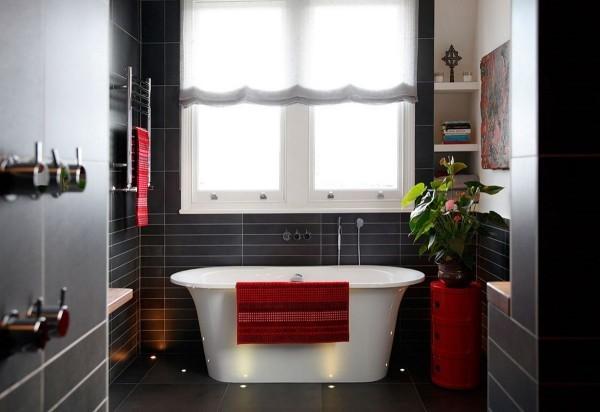 badezimmer gestaltungsideen tolle roten textilien