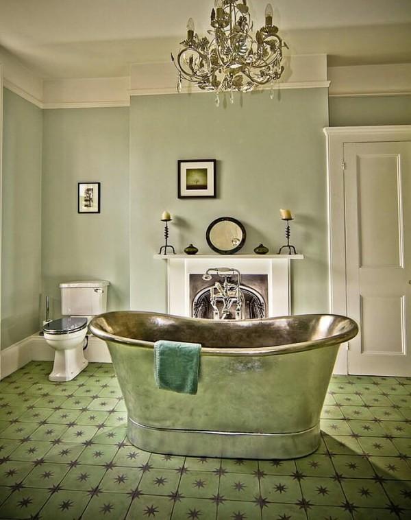 badezimmergestaltung antik und grün