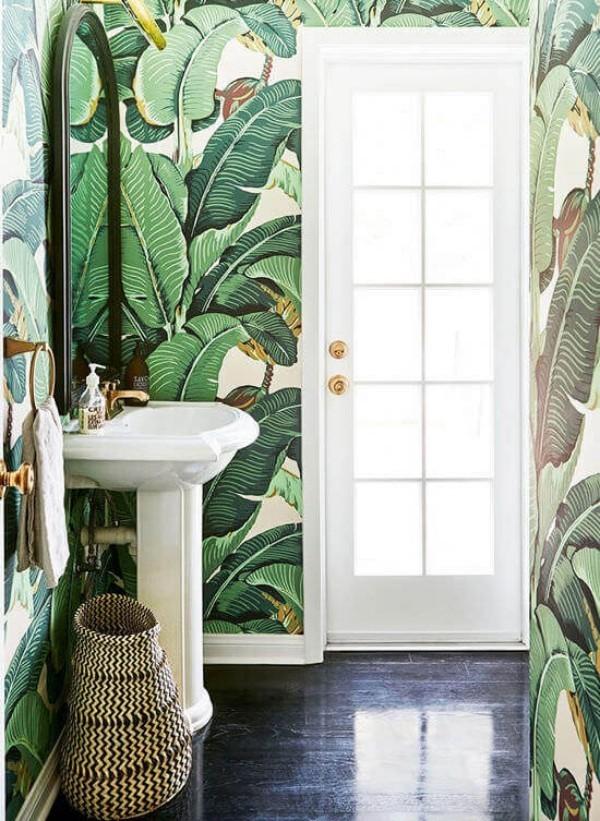 badezimmergestaltung exotische grünen muster
