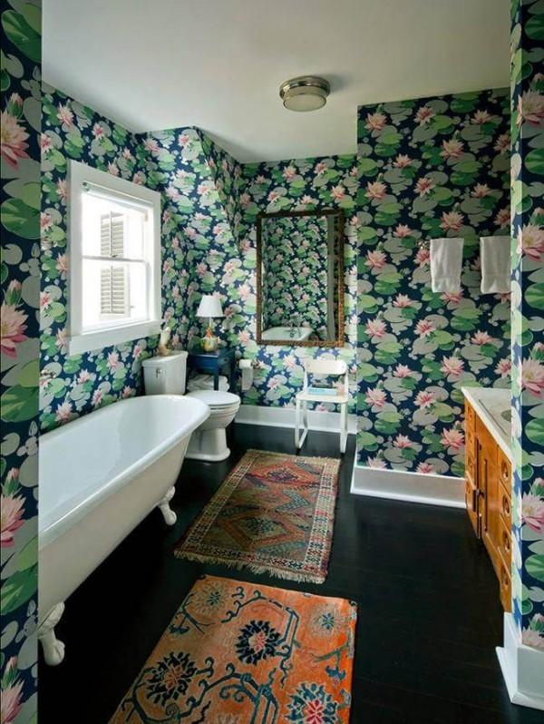 badezimmergestaltung grün rosa tapeten