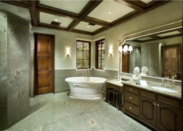 badezimmergestaltung grün und antike badezimmermöbel