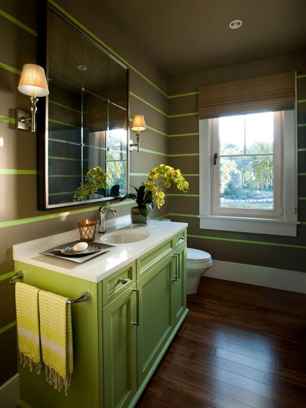 badezimmergestaltung grüner schrank