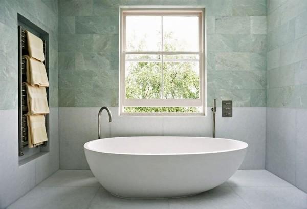badezimmergestaltung hellgrüne wand