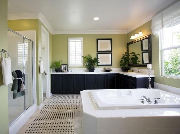 badezimmergestaltung hellgrüne wandbereiche