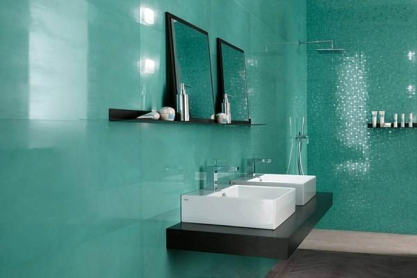 badezimmergestaltung intensives modernes grün