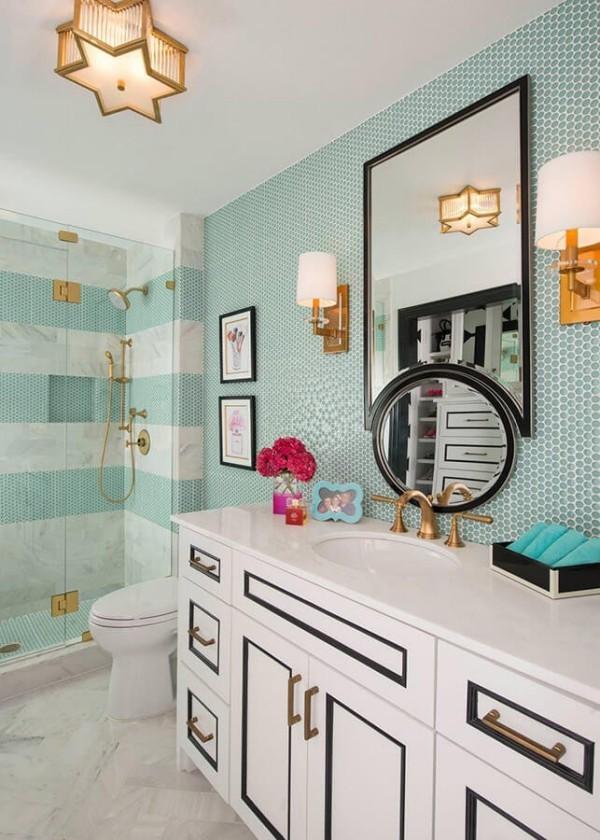 badezimmergestaltung verschiedene grünen streifen
