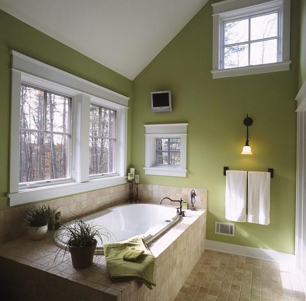 badezimmergestaltung zwei tolle grünen wände