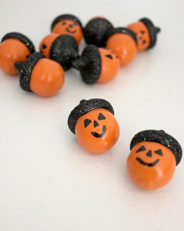 basteln mit eicheln zu halloween
