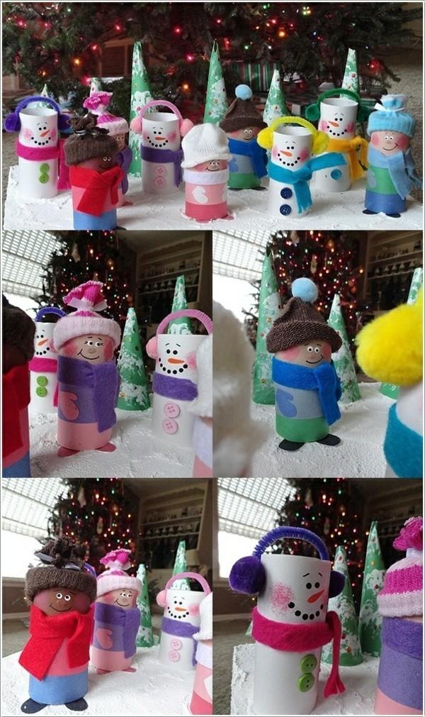 basteln mit klopapierrollen ausgefallene weihnachtsdeko selber machen