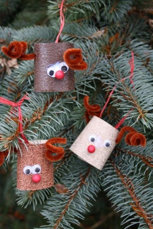 basteln mit klopappier schmuck für den weihnachtsbaum