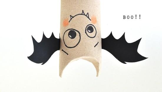 basteln mit klorollen fledermaus zu halloween