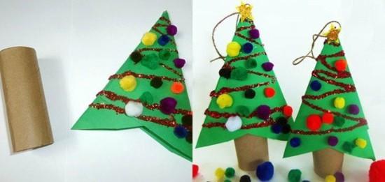 basteln mit klorollen kleine weihnachtsbäume christbaumschmuck