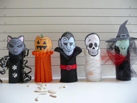 basteln mit klorollen mit kindern zu halloween