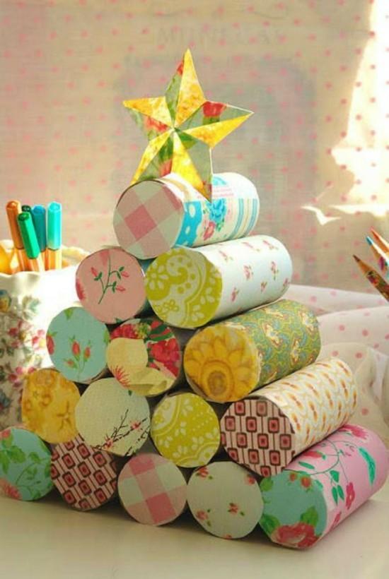 basteln mit klorollen weihnachtsbaum geschenkpapier