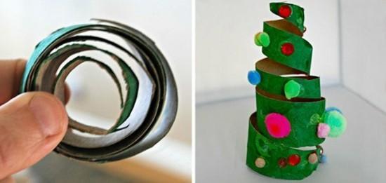 basteln mit klorollen weihnachtsbaum weihnachtsdeko
