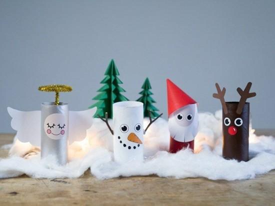 basteln mit klorollen zu weihnachten 60 einfache diy. Black Bedroom Furniture Sets. Home Design Ideas