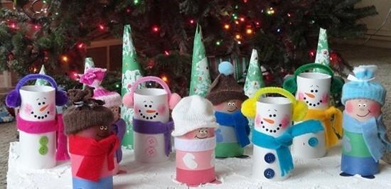 basteln mit klorollen weihnachtsfiguren