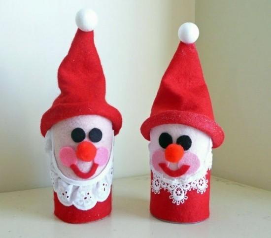 basteln mit klorollen wichtel zu weihnachten
