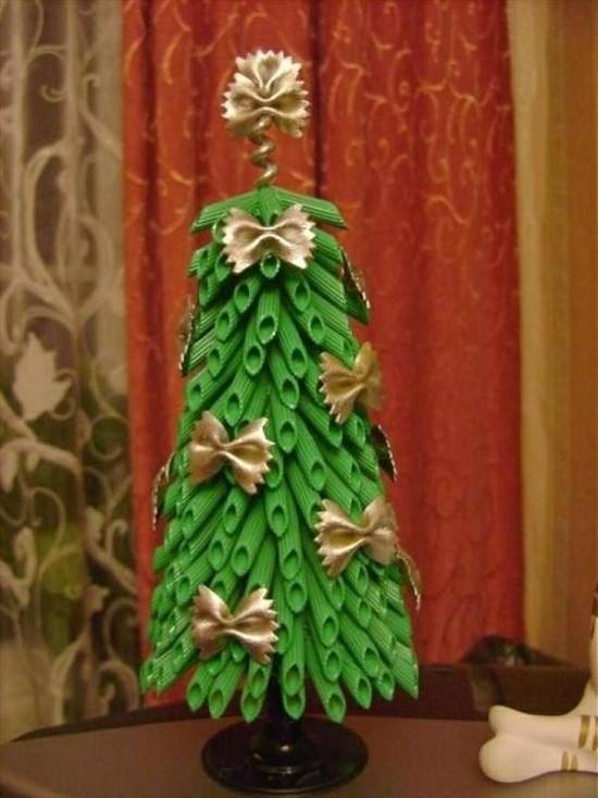 basteln mit nudeln weihnachtsbaum als diy deko
