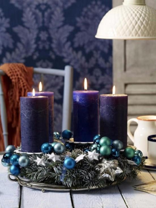 blauen adventskranz selber basteln