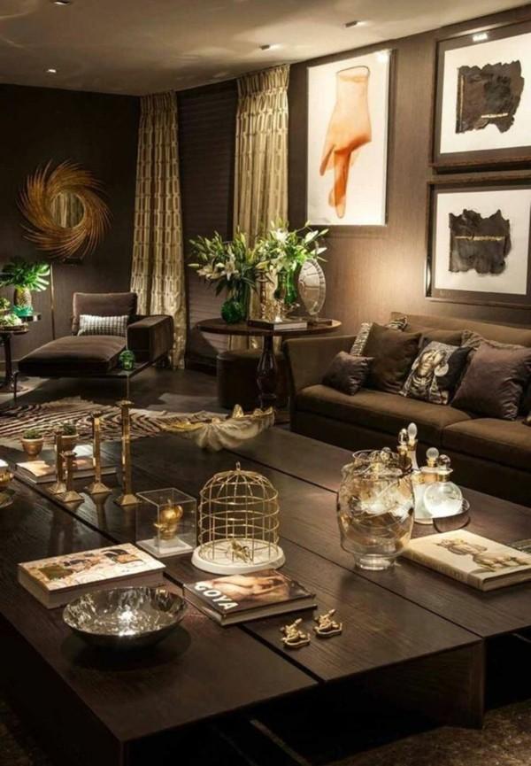 brauntöne dunkel gold akzente lichtgestaltung im wohnzimmer