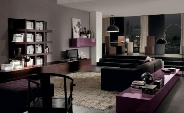 brauntöne hochglanz lila fronten hochflorteppich wohnzimmer einrichten