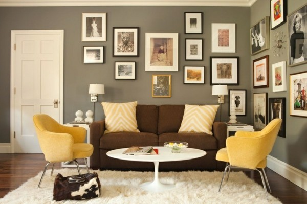 brauntöne interior ideen wandfarbe olivengrün gelbe sessel