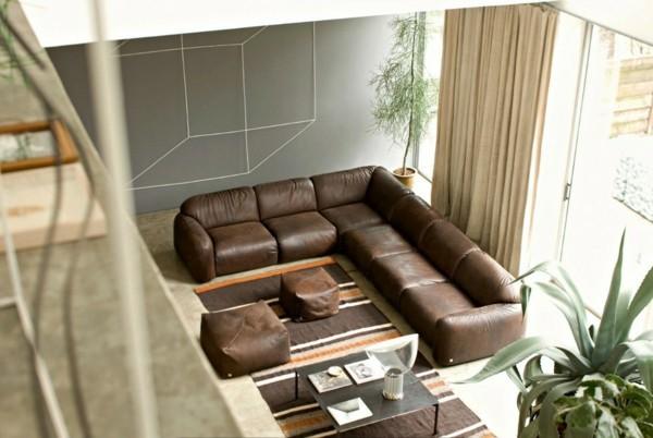 brauntöne ledersofa modern wohnzimmer ideen