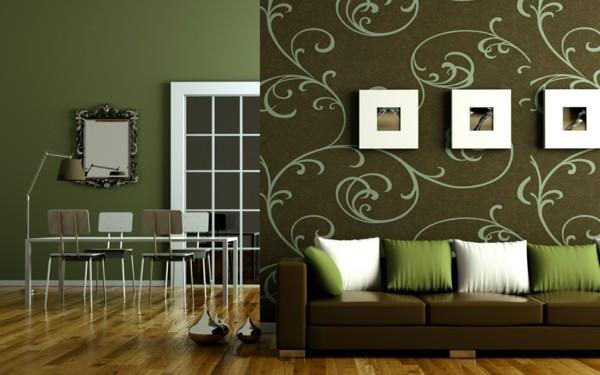brauntöne mit grün weiß farbkombinationen wohnzimmer