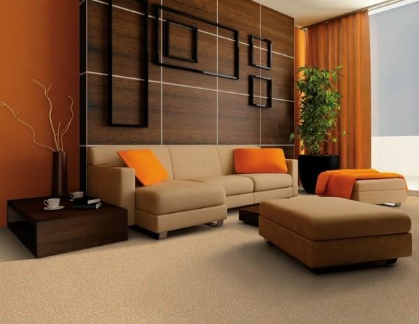 brauntöne mit orange kombinieren einrichtungsideen wohnzimmer