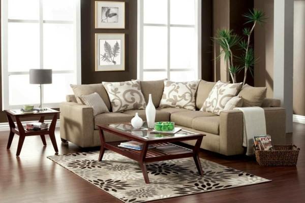 brauntöne sand wandfarbe hell braun wohnzimmer einrichten