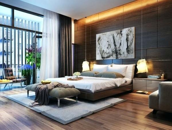 brauntöne schlafzimmer wandgestaltung mit holz