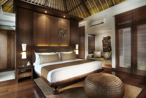 brauntöne schlafzimmereinrichtung bali style