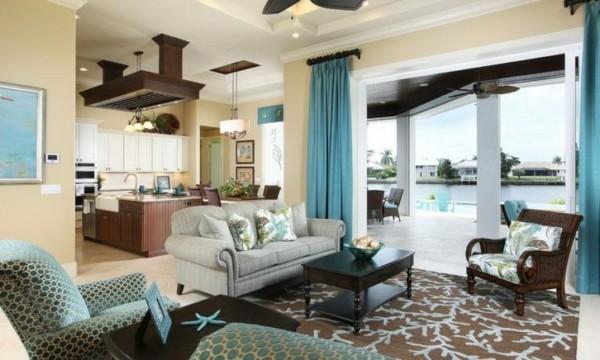 brauntöne türkis farbkombination wohnzimmer einrichten