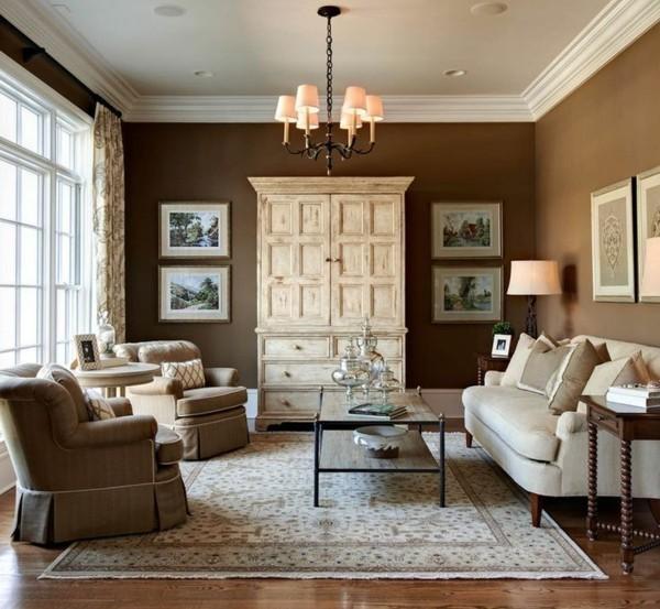 brauntöne wohnzimmer einrichten wandfarbe