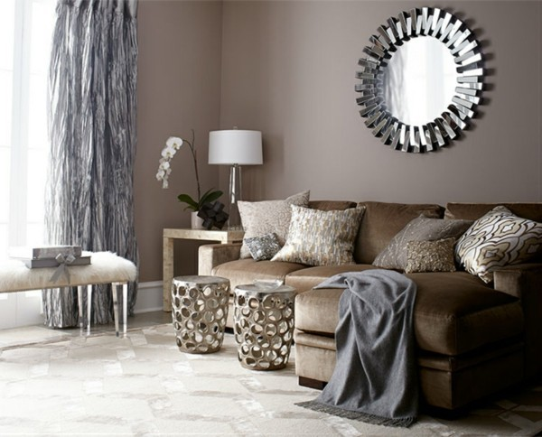 brauntöne wohnzimmer einrichtungsideen metall glanz