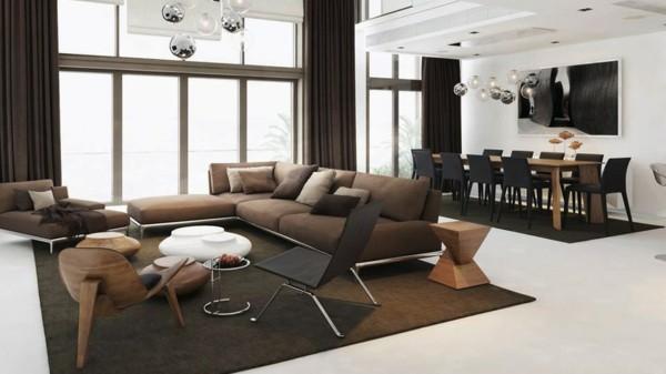 brauntöne wohnzimmer ideen mit esstisch