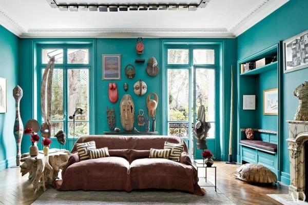 brauntöne wohnzimmer türkis wandfarbe