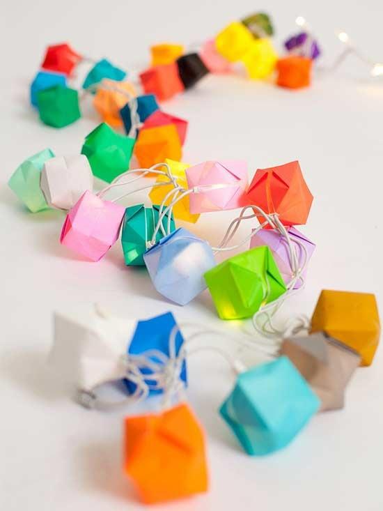 lichterkette basteln origami ideen