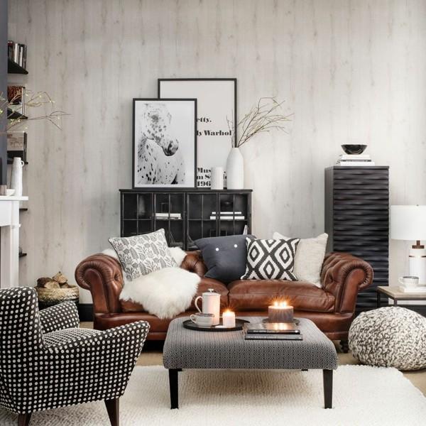 chesterfield sofa brauntöne im wohnzimmer