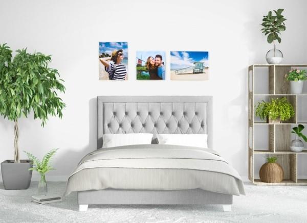 dekorationskombination schlafzimmer fotoleinwand