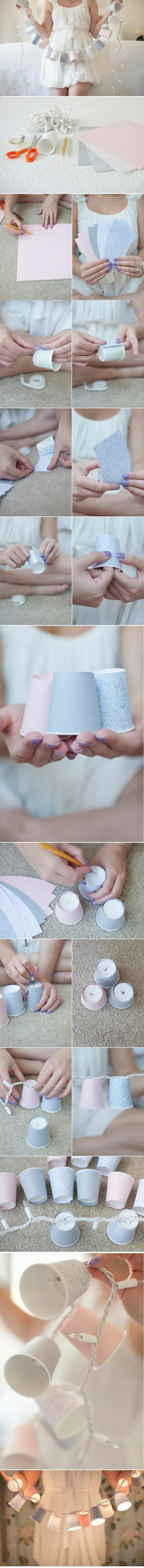 diy idee mit pappbechern lichterkette basteln