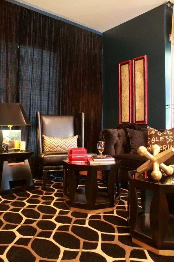 dunkle brauntöne gold akzente wohnzimmer ideen